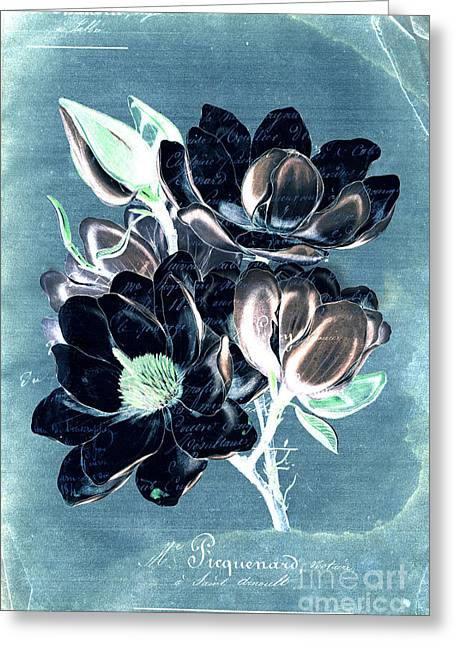 Blue Flowers Digital Art Greeting Cards - Sophisticated - Floral ccc Greeting Card by Variance Collections