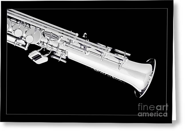 Soprano Greeting Cards - Soprano Saxophone Bell Photograph in Sepia 3343.01 Greeting Card by M K  Miller