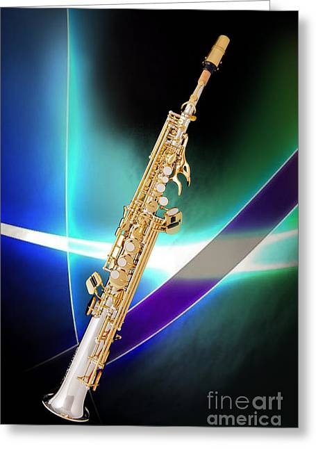 Soprano Greeting Cards - Soprano Saxophone Music Photograph in Color 3338.02 Greeting Card by M K  Miller