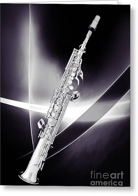 Soprano Greeting Cards - Soprano Saxophone Music Photograph in Sepia 3338.01 Greeting Card by M K  Miller