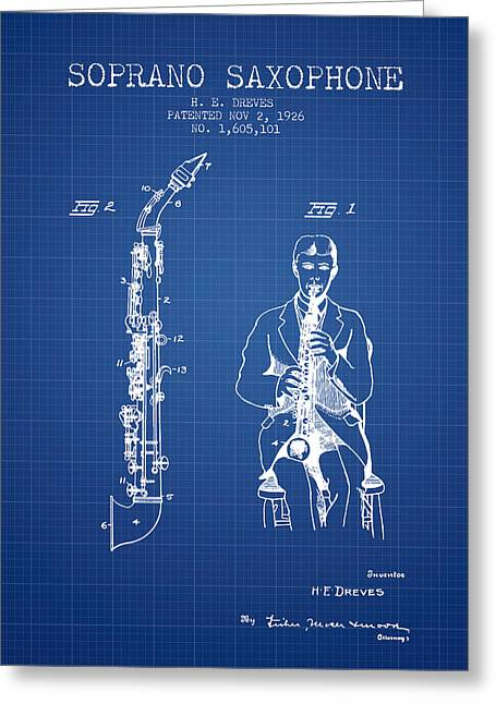 Saxophone Greeting Cards - Soprano Saxophone patent from 1926 - Blueprint Greeting Card by Aged Pixel