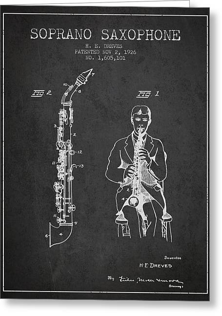 Saxophone Greeting Cards - Soprano Saxophone patent from 1926 - Charcoal Greeting Card by Aged Pixel