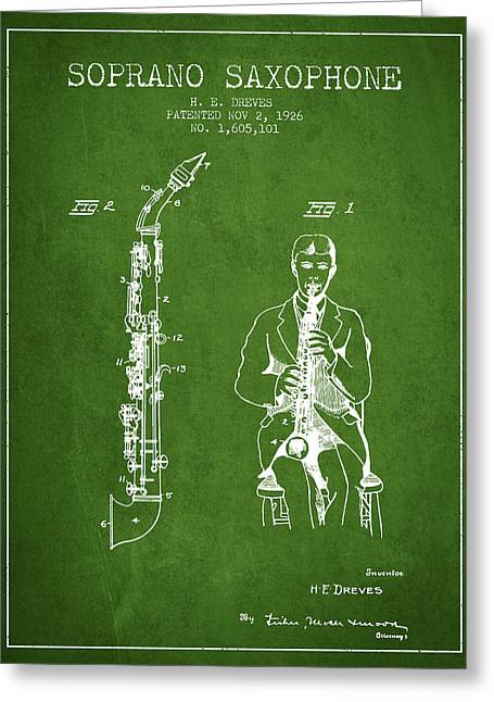 Saxophone Greeting Cards - Soprano Saxophone patent from 1926 - Green Greeting Card by Aged Pixel