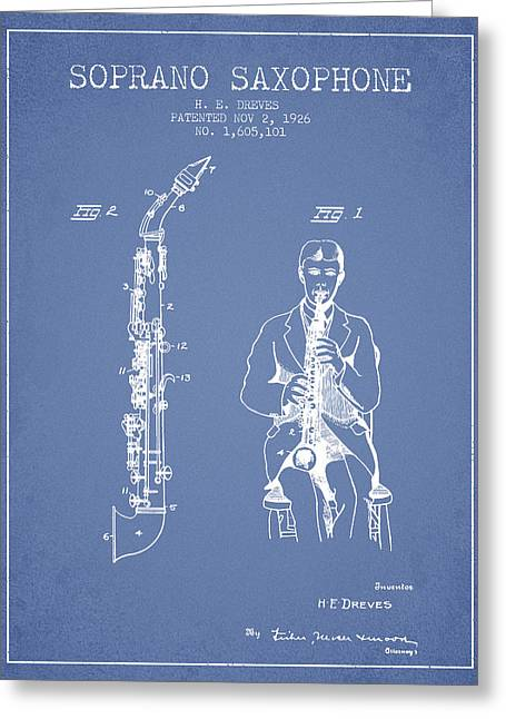 Saxophone Greeting Cards - Soprano Saxophone patent from 1926 - Light Blue Greeting Card by Aged Pixel