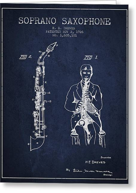 Saxophone Greeting Cards - Soprano Saxophone patent from 1926 - Navy Blue Greeting Card by Aged Pixel