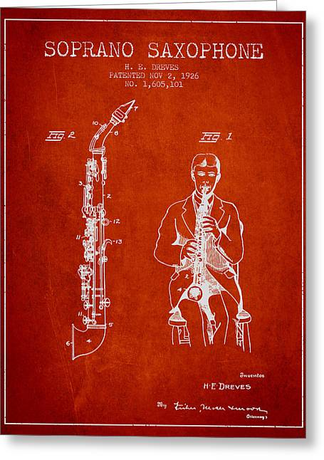 Saxophone Greeting Cards - Soprano Saxophone patent from 1926 - Red Greeting Card by Aged Pixel