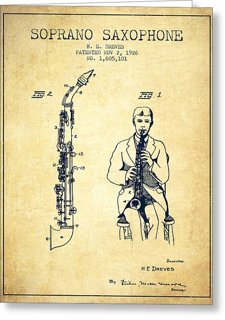 Saxophone Greeting Cards - Soprano Saxophone patent from 1926 - Vintage Greeting Card by Aged Pixel
