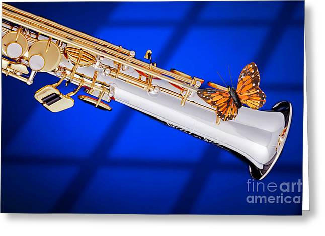 Soprano Greeting Cards - Soprano Saxophone with Butterfly Color blue 3350.02 Greeting Card by M K  Miller