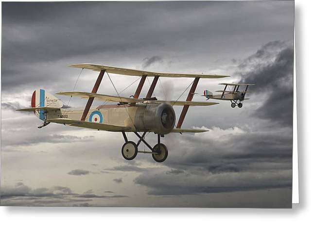 Triplane Greeting Cards - Sopwith Triplane Greeting Card by Pat Speirs