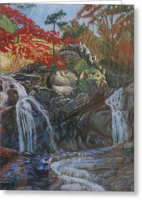 Waterfall Pastels Greeting Cards - Sorak Serenade Greeting Card by Larry Wilkinson