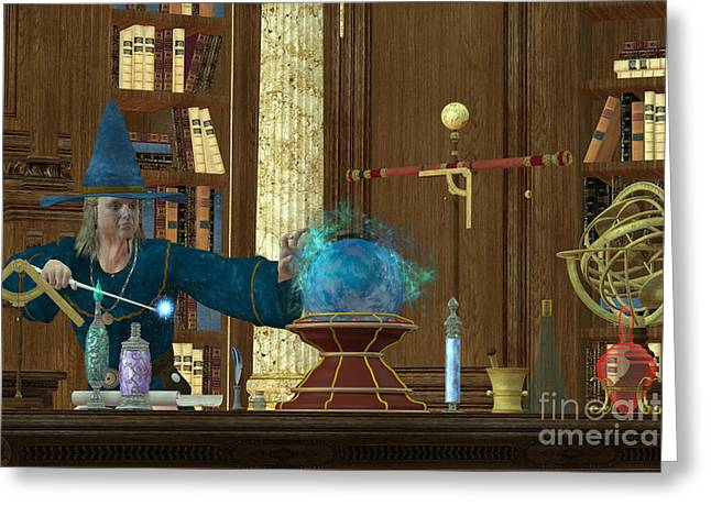 Virtuoso Greeting Cards - Sorcerer Magician Greeting Card by Corey Ford