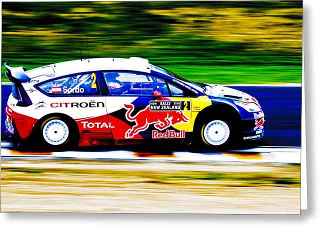 2010 Wrc Greeting Cards - Sordo WRC Citroen Greeting Card by motography aka Phil Clark