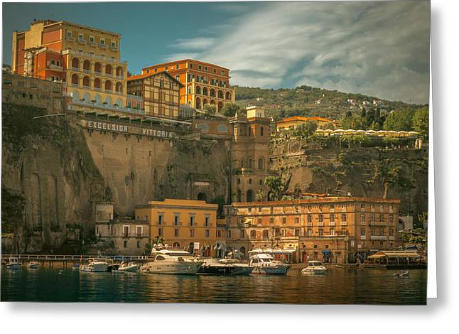 Italian Seascape Greeting Cards - Sorrento Greeting Card by Chris Fletcher