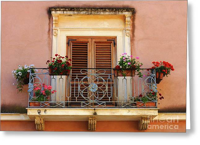 Sorrento Italy Balcony Greeting Card by Bob Christopher