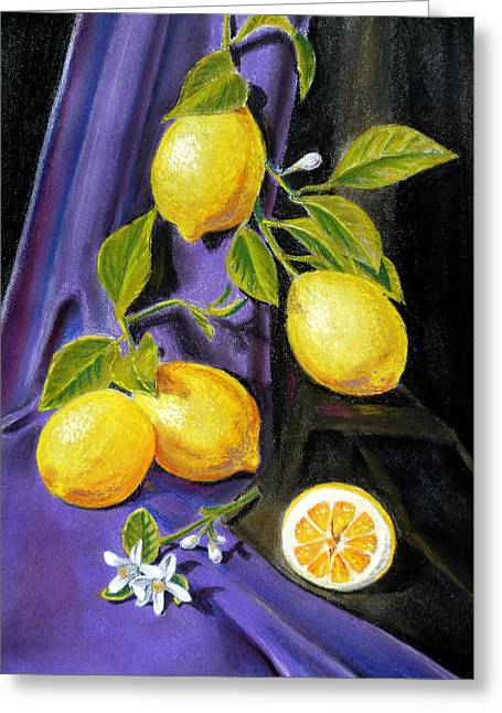 Lemon Art Greeting Cards - Sorrento Lemons Greeting Card by Irina Sztukowski