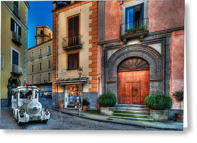 Dellos Greeting Cards - Sorrento shopping train around streets Greeting Card by Enrico Pelos