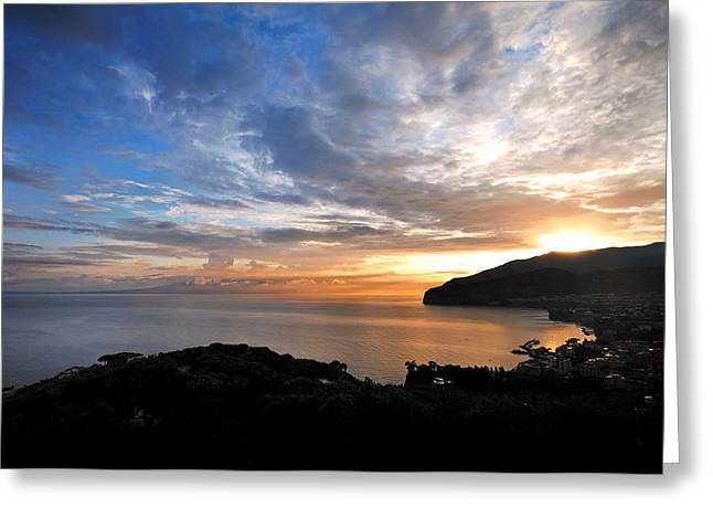 Italian Sunset Greeting Cards - Sorrento Sunset   Greeting Card by Nian Chen
