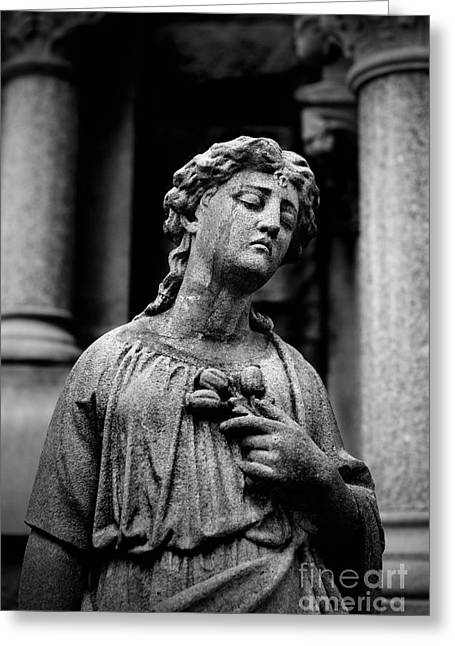 Mausoleum Greeting Cards - Sorrow Allegheny Cemetery Pittsburgh  Greeting Card by Amy Cicconi