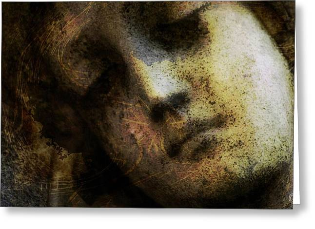 Woman Head Greeting Cards - Sorrow captured in stone forever Greeting Card by Gun Legler