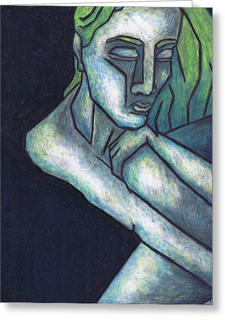 Sadness Pastels Greeting Cards - Sorrow Greeting Card by Kamil Swiatek