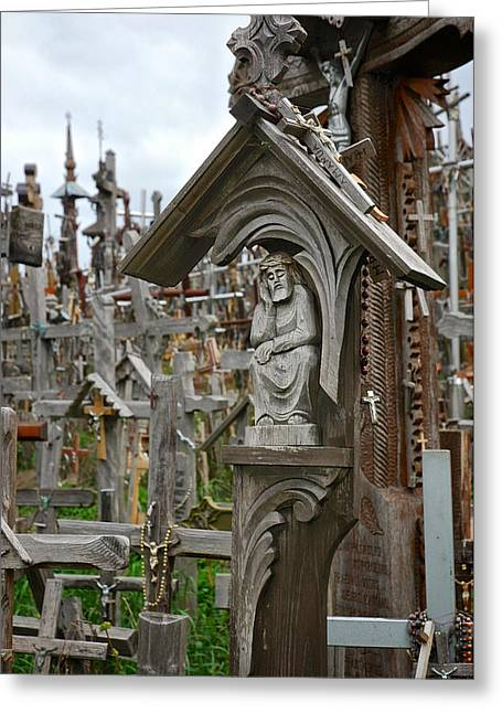 Lithuania Greeting Cards - Sorrowful Christ Lithuania Hill of Crosses Greeting Card by Mary Lee Dereske