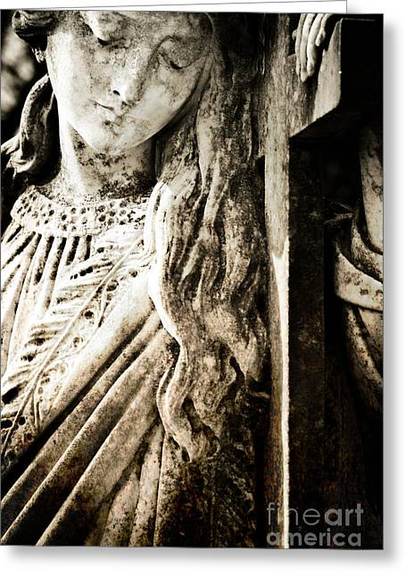 Catholic Art Greeting Cards - Sorrowful Gaze Greeting Card by Sonja Quintero