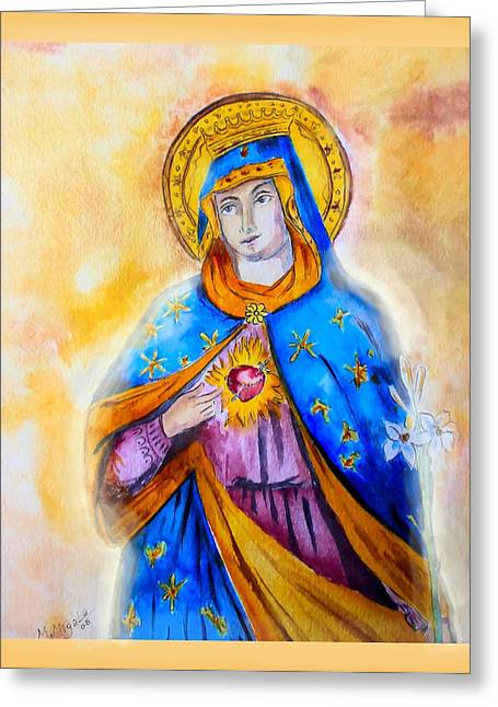 Immaculate Heart Greeting Cards - Sorrowful Immaculate Heart Greeting Card by Myrna Migala