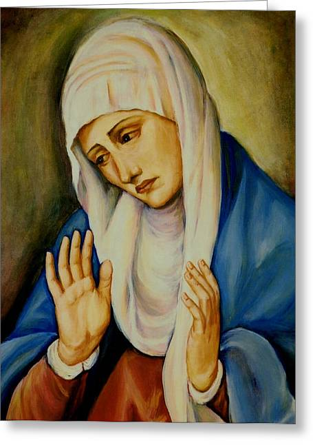 Immaculate Heart Greeting Cards - Sorrowful Mother after Titian Greeting Card by Sheila Diemert