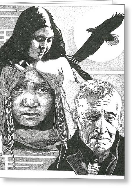 Native American Greeting Cards - Sorrows Greeting Card by Clayton Cannaday