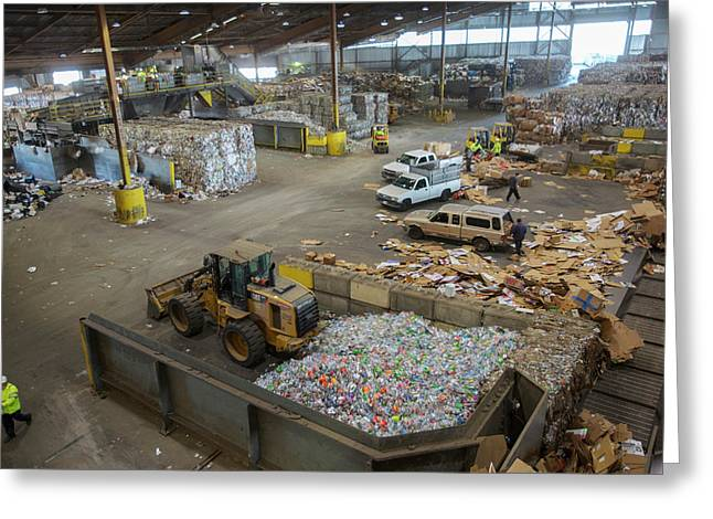 Sorted Waste At A Recycling Centre Greeting Card by Peter Menzel