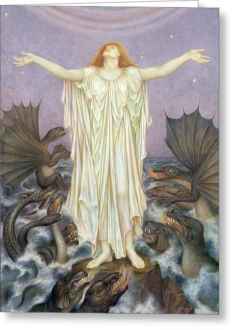 Williams Greeting Cards - S.o.s. Greeting Card by Evelyn De Morgan