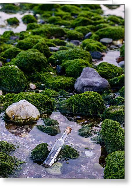 Green Ocean Glass Greeting Cards - SOS To The World Greeting Card by Marco Oliveira
