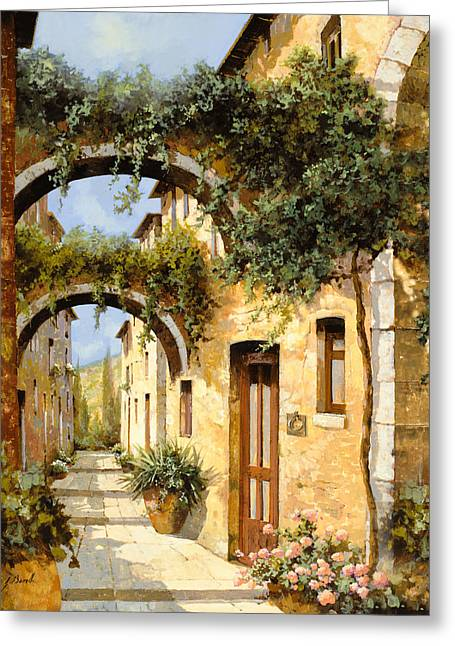 Blue Shadows Greeting Cards - Sotto Gli Archi Greeting Card by Guido Borelli