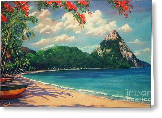St Lucia Greeting Cards - Soufriere Bay   St. Lucia Greeting Card by John Clark