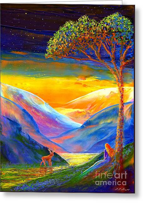 Spiritual Paintings Greeting Cards - Soul Contact Greeting Card by Jane Small