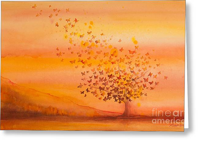 Resurrection Greeting Cards - Soul Freedom Watercolor Painting Greeting Card by Michelle Wiarda