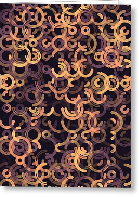 Retro Greeting Cards - Soul Geometric Circle Segment Pattern Greeting Card by Frank Ramspott