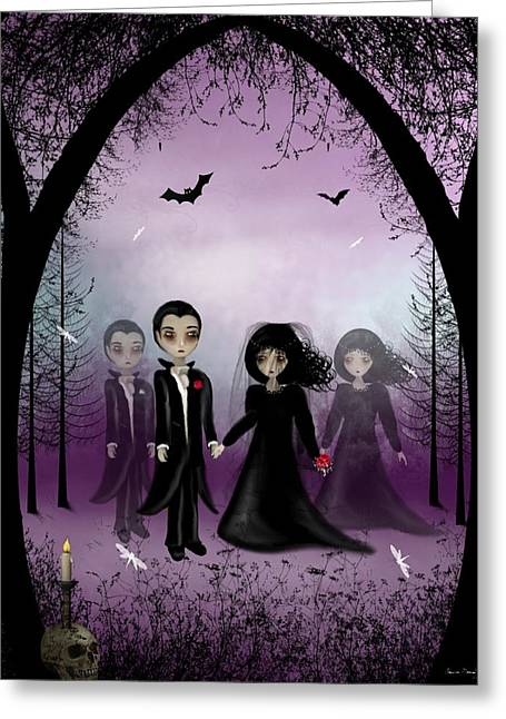 Gothic Romance Greeting Cards - Soul Mates Greeting Card by Charlene Murray Zatloukal