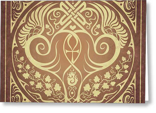 Knotwork Greeting Cards - Soul Mates - Gold Greeting Card by Cristina McAllister