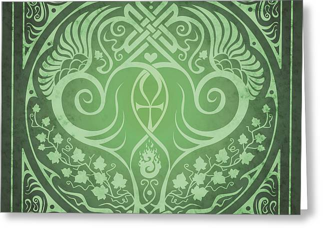 Best Friend Greeting Cards - Soul Mates - Green Greeting Card by Cristina McAllister