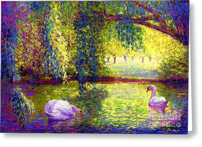 Peaceful Pond Greeting Cards - Soul Mates Greeting Card by Jane Small