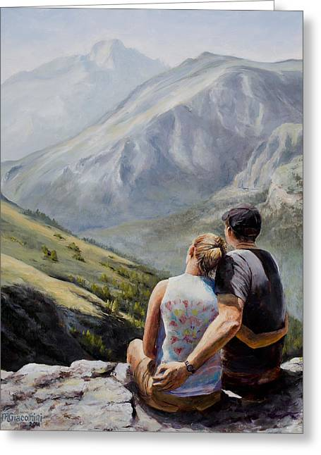 Hiking Paintings Greeting Cards - Soul Mates Greeting Card by Mary Giacomini