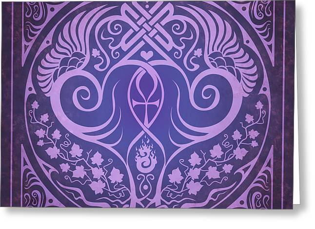Sacred Digital Art Greeting Cards - Soul Mates - Purple Greeting Card by Cristina McAllister