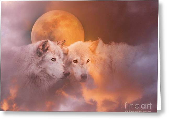 Wolf Moon Greeting Cards - Soul Mates Greeting Card by Stephanie Laird