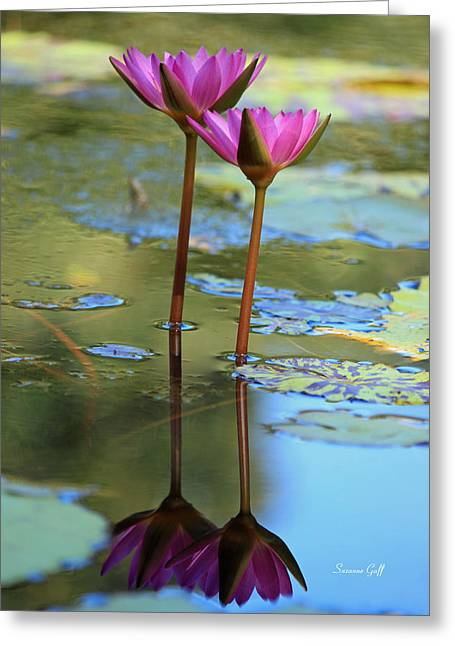 Lotus Blossoms Greeting Cards - Soul Mates Greeting Card by Suzanne Gaff