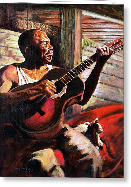 Black Man Paintings Greeting Cards - Soul Music Greeting Card by John Lautermilch