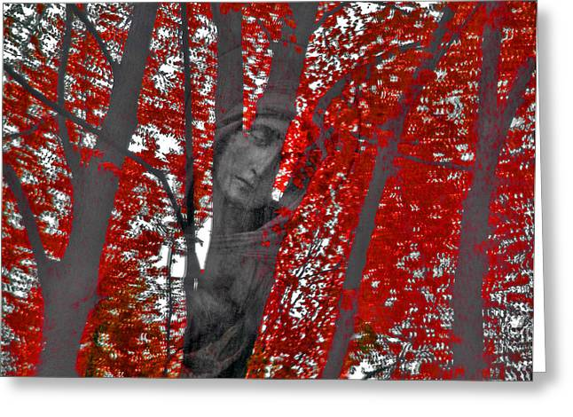 Woman Head Prints Greeting Cards - Soul Of The Trees Greeting Card by Renata Vogl