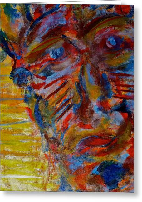 Native American Spirit Portrait Paintings Greeting Cards - Soul Searching Greeting Card by Abram Freitas