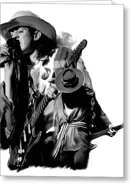 Iconic Guitar Greeting Cards - Soul To Soul  Stevie Ray Vaughan Greeting Card by Iconic Images Art Gallery David Pucciarelli