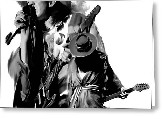 Photographs Drawings Greeting Cards - Soul To Soul  Stevie Ray Vaughan Greeting Card by Iconic Images Art Gallery David Pucciarelli